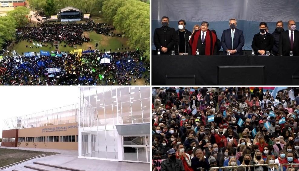 Con un multitudinario acto en José C. Paz, Ishii no solo inauguró la Facultad de Medicina