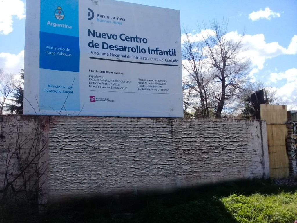 Pte. Perón: Comenzó la construcción de un nuevo Centro de Desarrollo Infantil