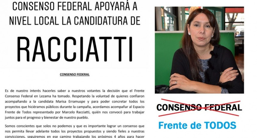 Lezama: La lavagnista Marisa Erramuspe declinó su candidatura en apoyo a Racciatti de Todos
