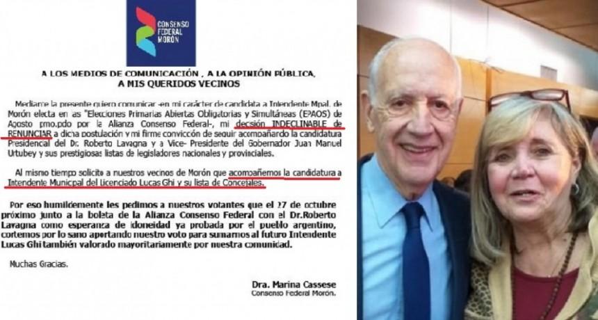 Morón: Candidata de Lavagna, renunció a su candidatura y pide votar a Lucas Ghi