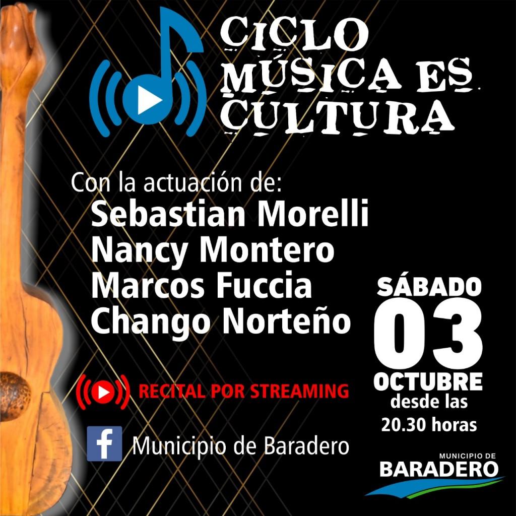 """Baradero: Llega la tercera noche del ciclo """"Música Es Cultura"""" con la participación de cuatro artistas"""