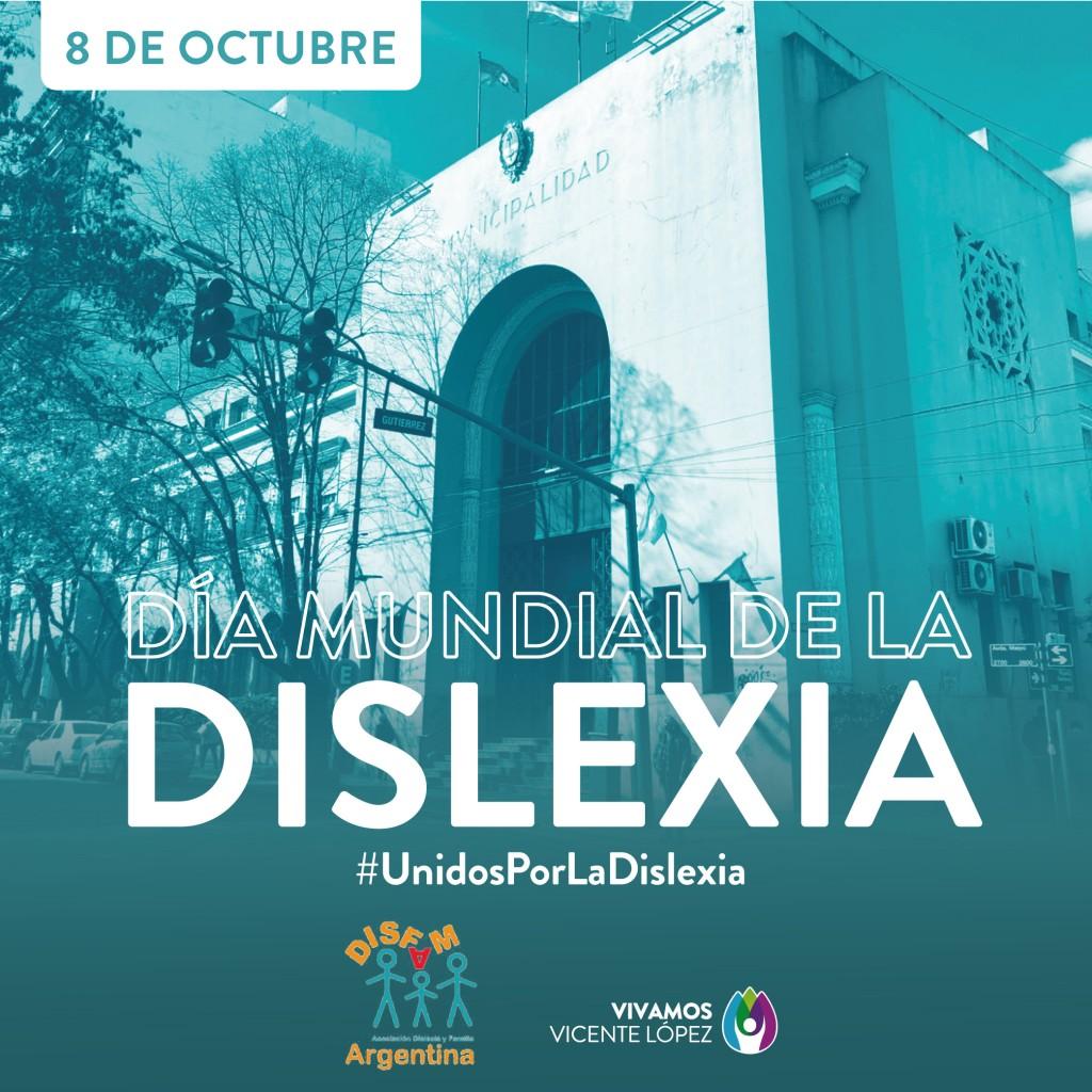 Vicente López se ilumina para concientizar la lucha contra la dislexia
