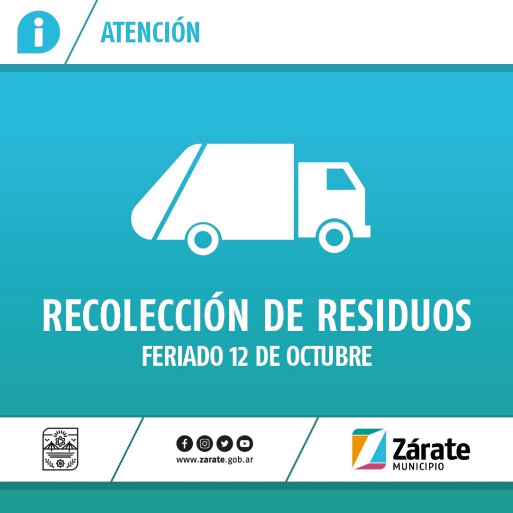Zárate: Cronograma de recolección de residuos por el feriado del lunes 12 de octubre