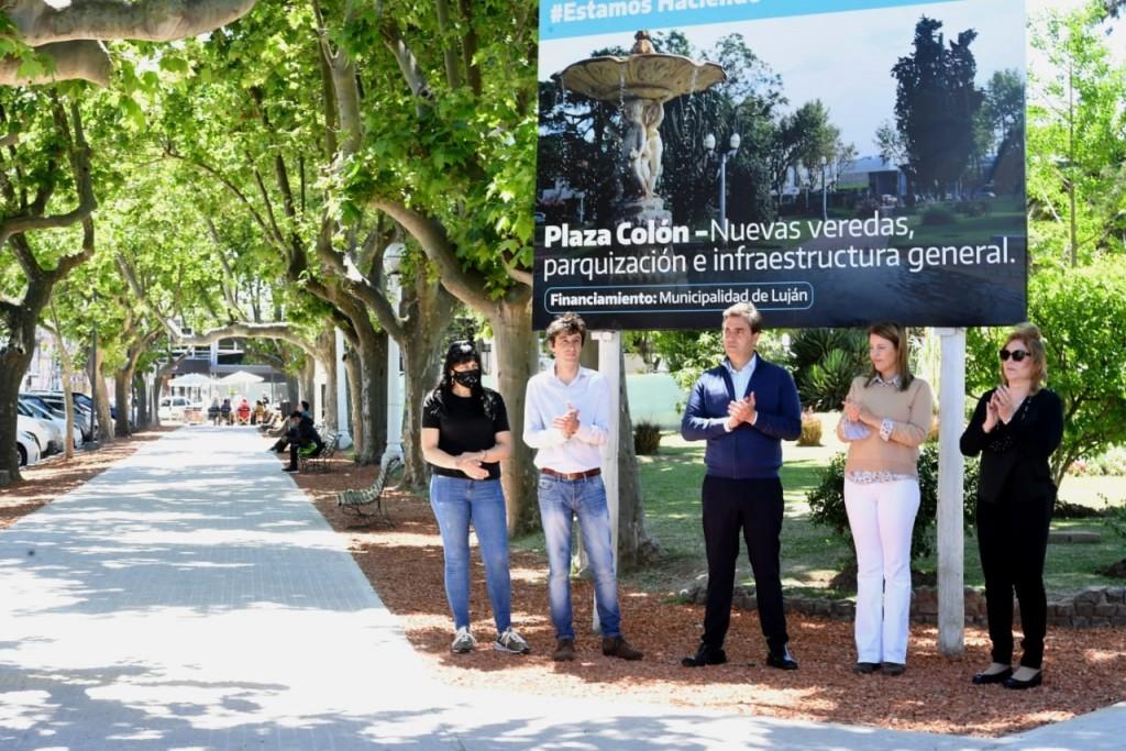 Luján: El Intendente inauguró la primera etapa de las obras de remodelación de la plaza Colón