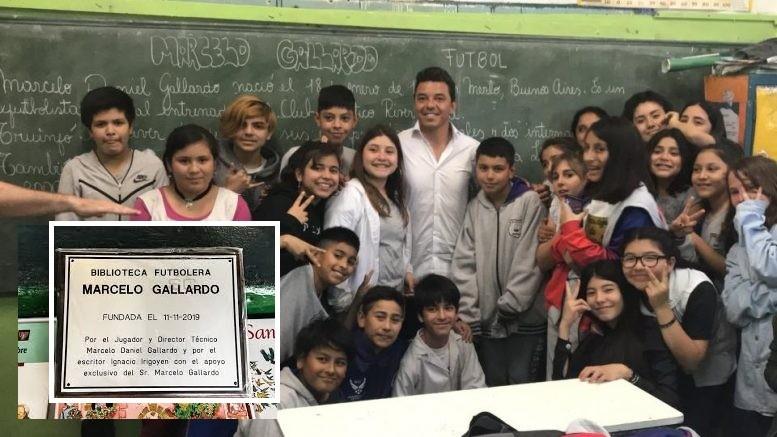 Merlo: Marcelo Gallardo volvió a su escuela primaria para inaugurar una biblioteca