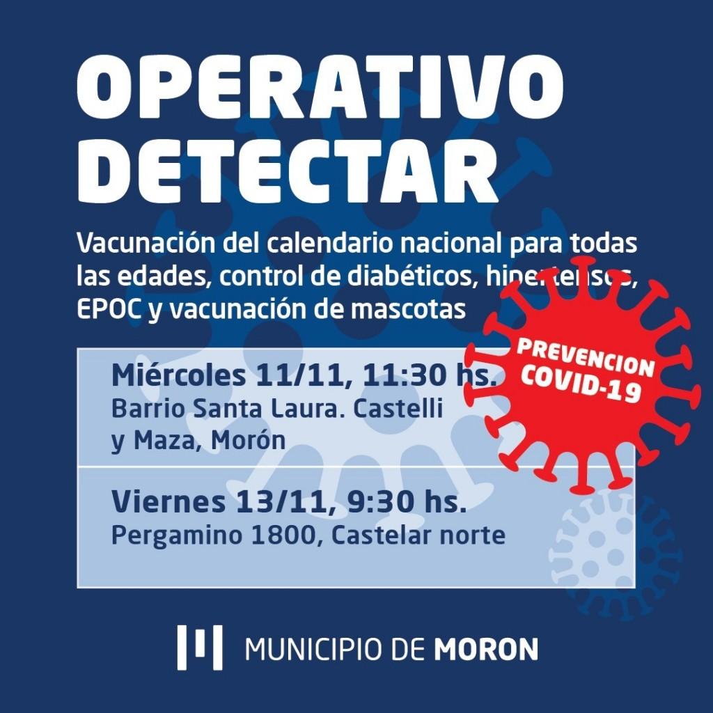 Morón: Nuevos operativos DetectAR en Morón sur y Castelar norte