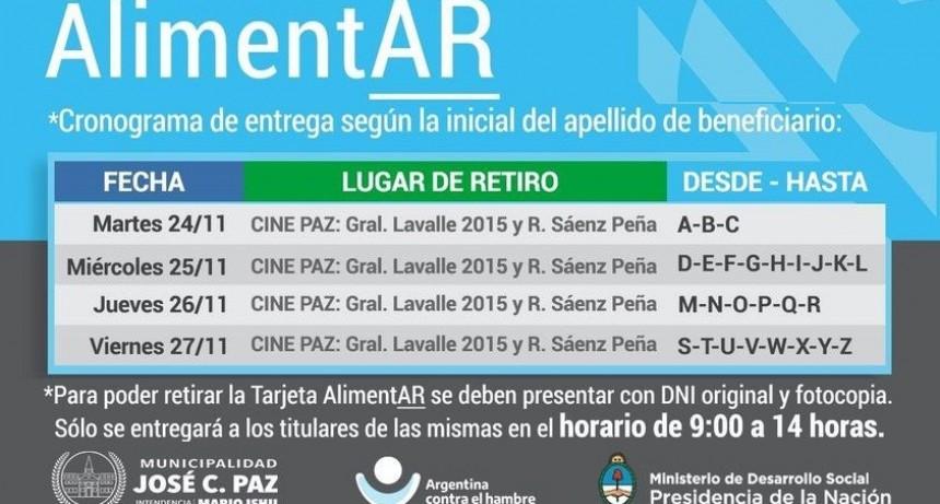 José C. Paz: Del 24 al 27 de noviembre se realizará una nueva entrega de Tarjetas AlimentAR