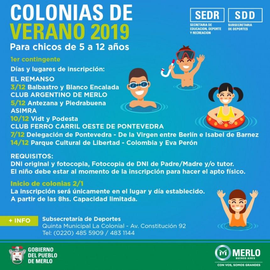 Merlo: El municipio inició la inscripción para las Colonias de Verano