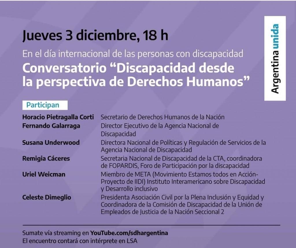 Baradero: Conversatorio por el Día Internacional de las Personas con Discapacidad