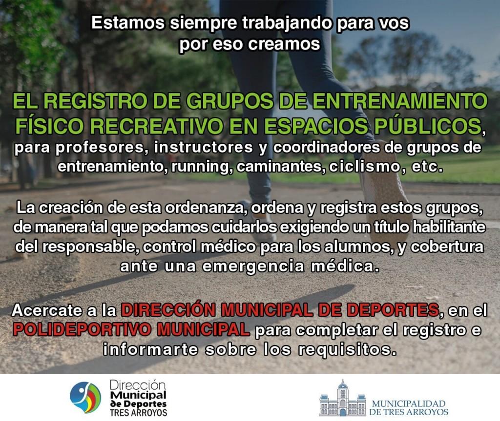 Tres Arroyos: Hasta febrero se puede regularizar el registro de grupos de entrenamiento